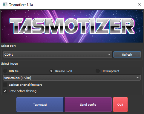 Tasmotizer main screen - makes flashing tasmota easy