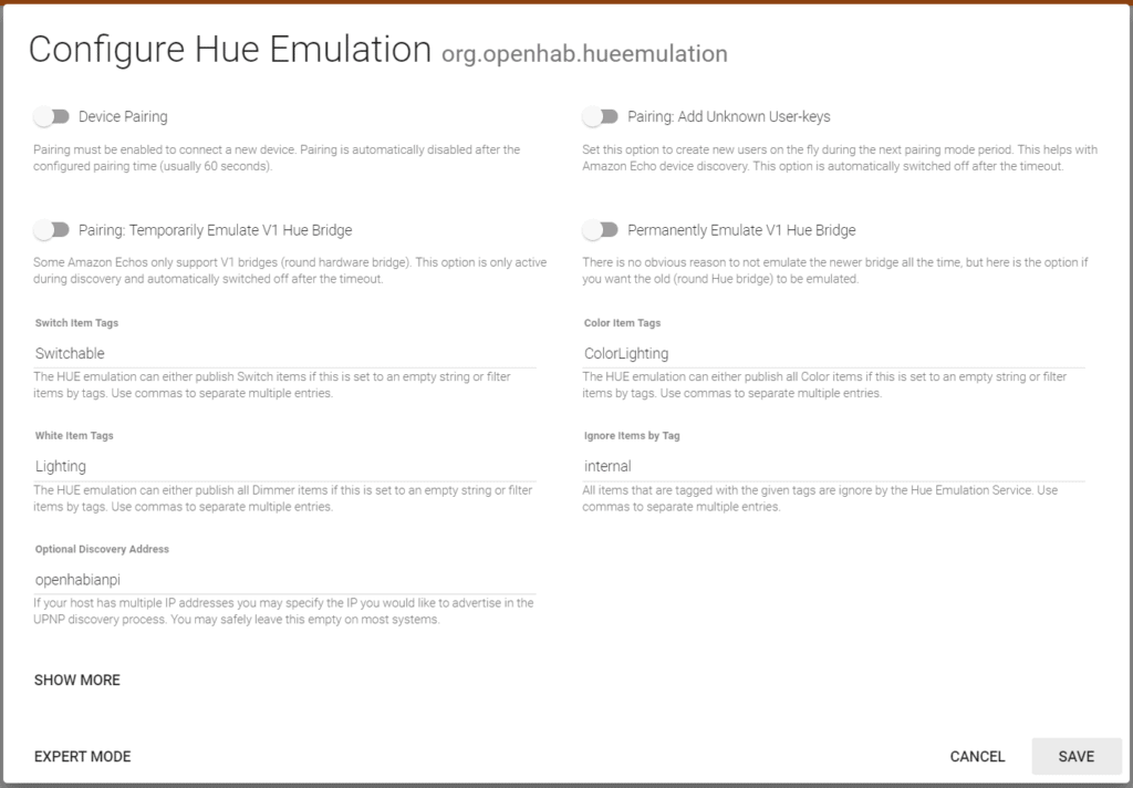 configure the hue emulation to enable voice control