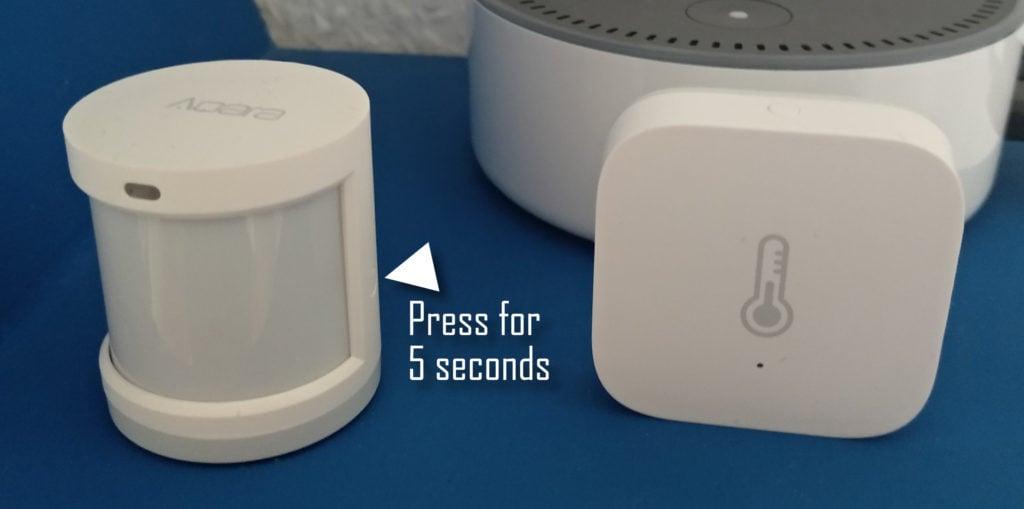 2 Aqara Zigbee sensors. Motion and temperature. Press 5 seconds to pair with zigbee2mqtt