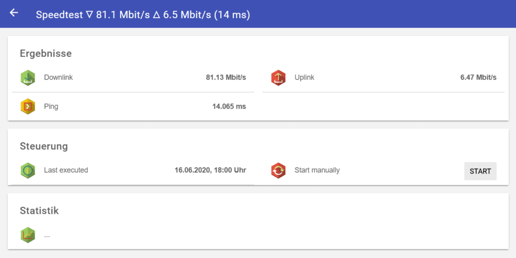 Displaying ping, upload and download from the speedtest in OpenHab
