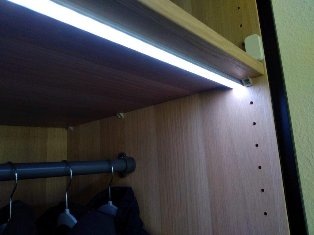 My DIY smart wardrobe lights and the Aqara sensor