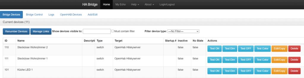 Add alexa support via the webinterface of HA bridge