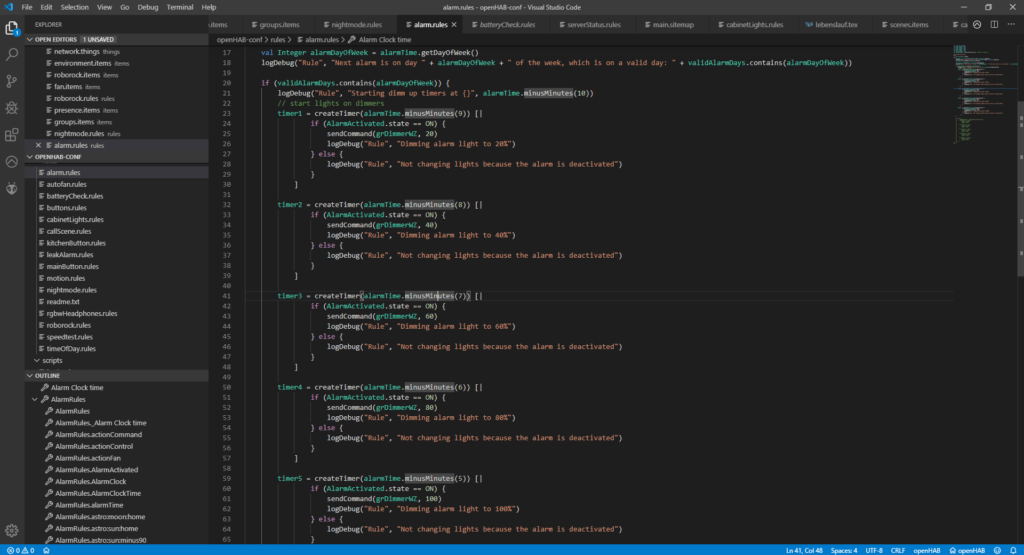 visual studio code open with code for my smart light automation