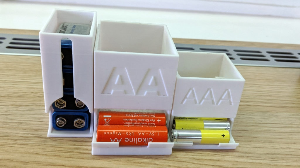 my custom battery holders for AA, AAA and block batteries