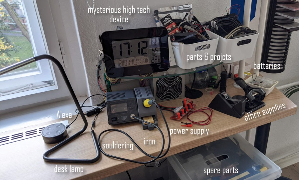 my diy electronics lab with soldering iron, alexa, custom ATX power supply and spare parts