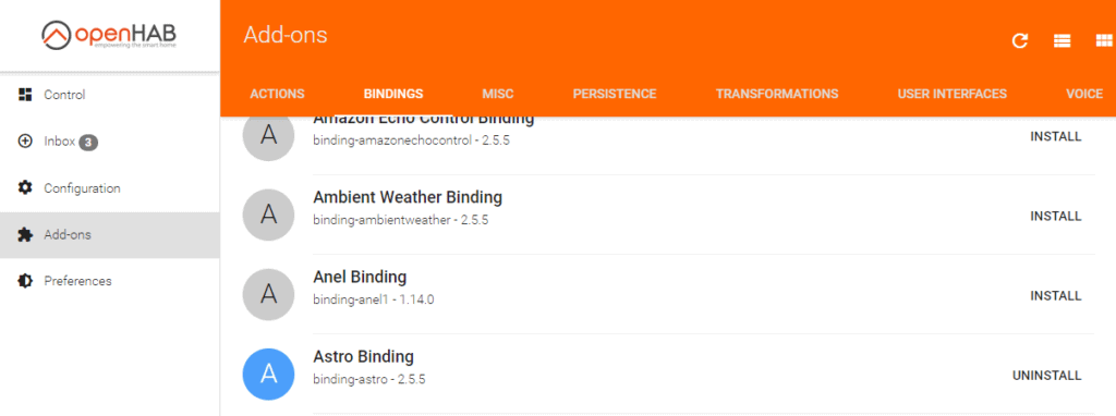PaperUI in Openhab. Lists all bindings and shows you how to install a new binding in openhab