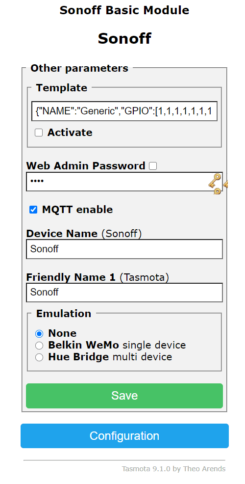 advanced config menu with friendly device name and emulation mode. Allows you to enable Tasmota hue emulation