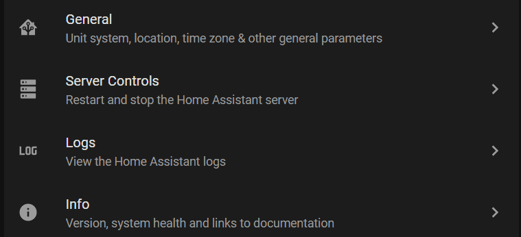 home assistant config menu