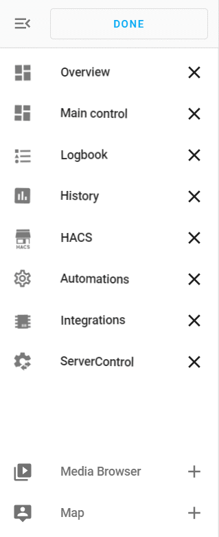 custom Home Assistant sidebar with entries for integrations and automations