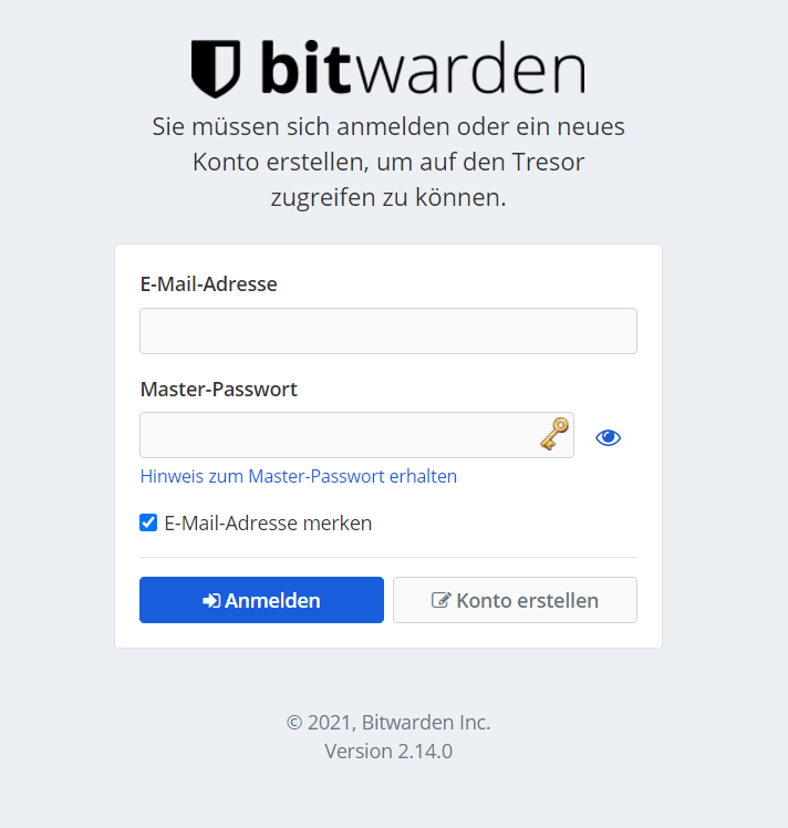 LastPass alternative - the Bitwarden web interface for the login