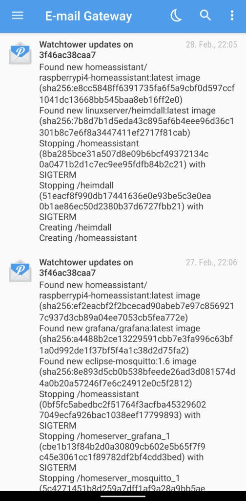 watchtower update log via Pushover