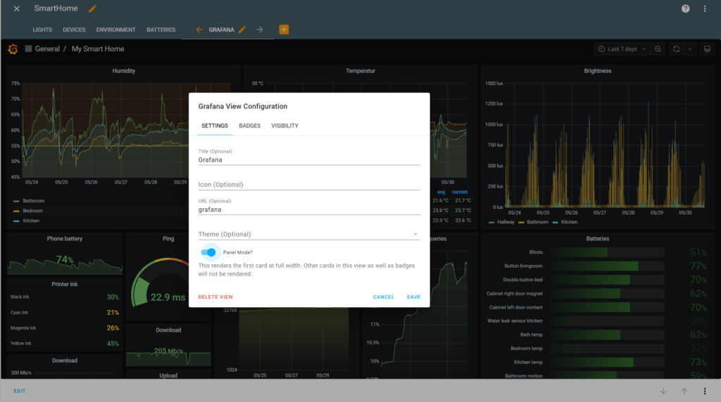 a full grafana dashboard in home assistant