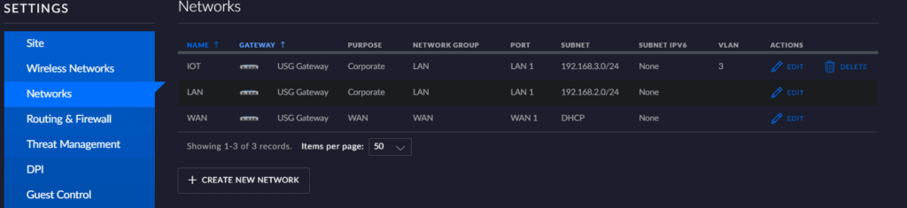 overview of different networks/VLANs in the unifi controller. Currently IOT, LAN and WAN